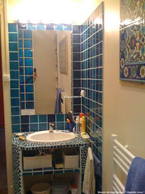 une cr ation de panneaux wedi en plan vasque. Black Bedroom Furniture Sets. Home Design Ideas