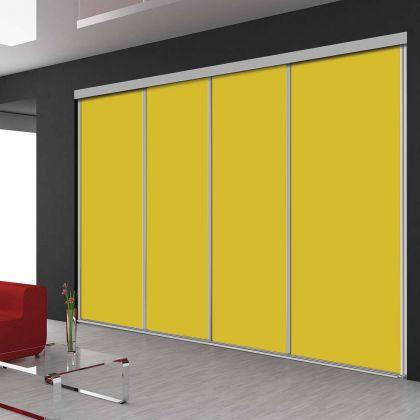 Porte de placard coulissant en 4 vantaux avec 6 teintes jaune