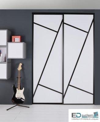 Porte de placard coulissante puzzle 2 vantaux - Porte de placard vitree coulissante ...