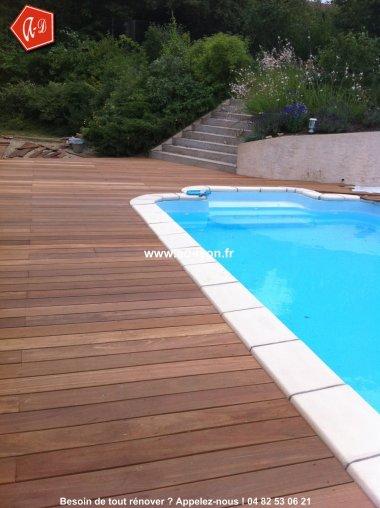 Terrasse de piscine le bois rajoutera du charme for Devis piscine bois