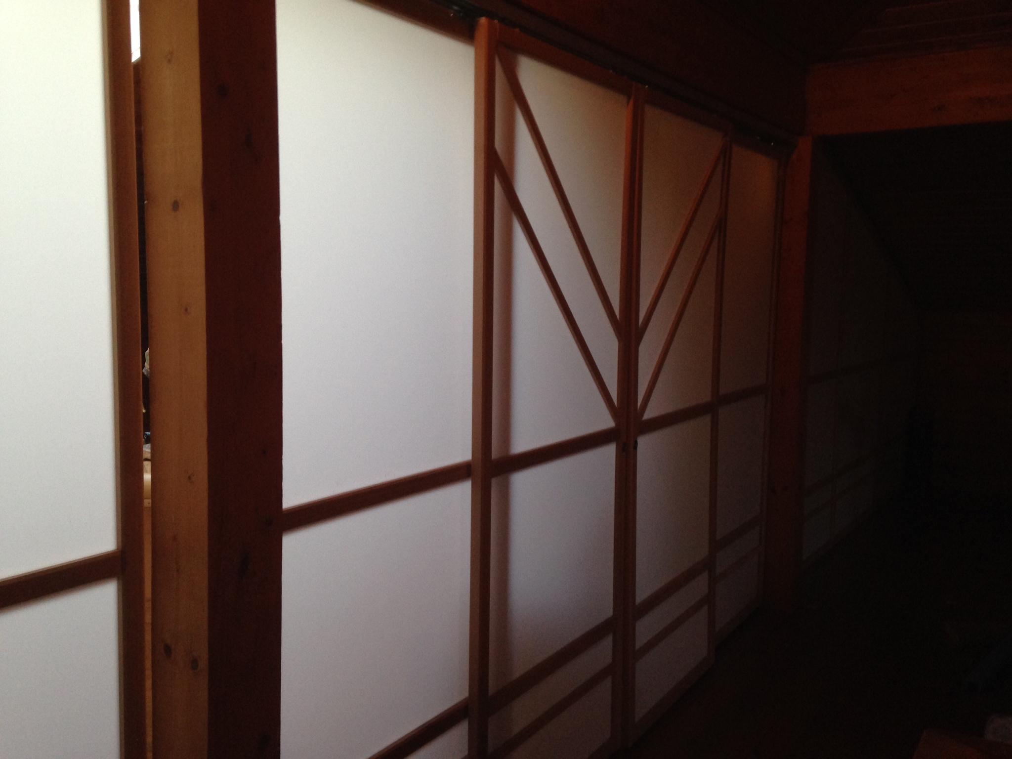 Cloison amovible juugatsu avec deux lignes en bois Cloisons coulissantes