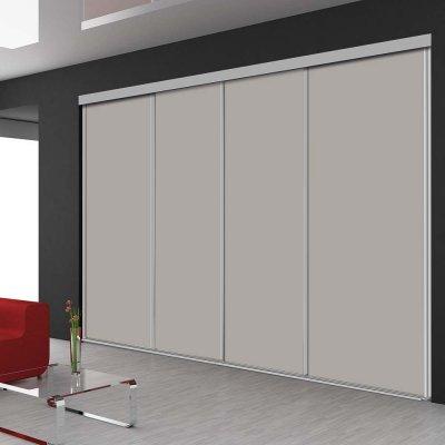 Porte de placard coulissant en 4 vantaux avec 6 teintes blanc