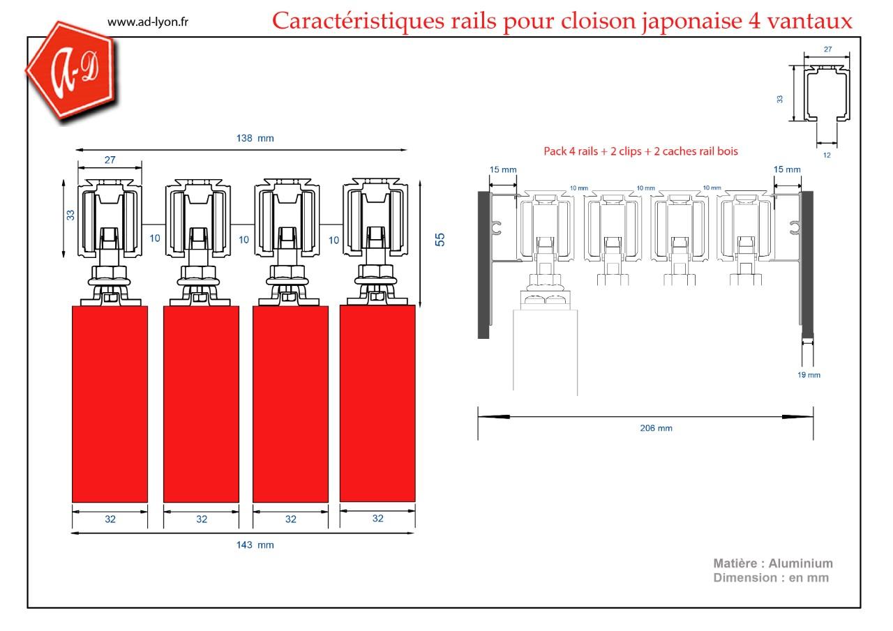 Pack 2 rails associés pour cloison japonaise 2 vantaux