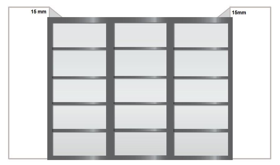 recouvrement de 15mm des portes sur les murs en extrémité