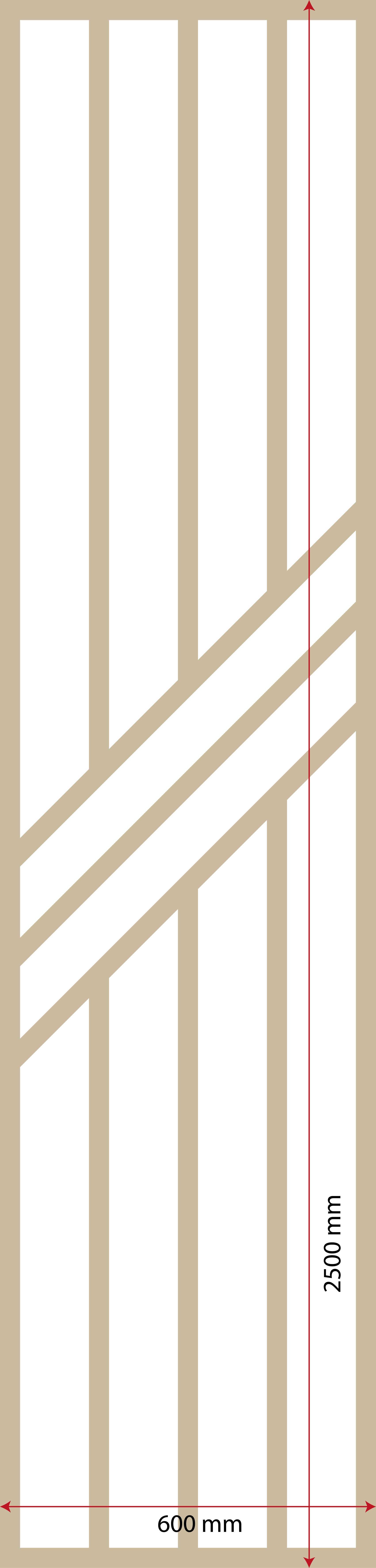 Exemple d'un claustra en 5 lames dimensions 600 millimètres de large par 2500 mm de hauteur