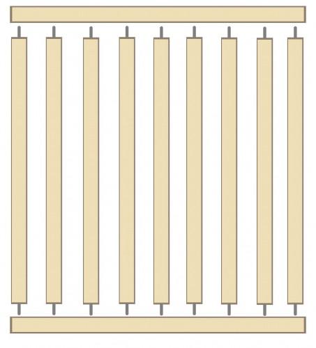 Tenons entre lames horizontales et verticales