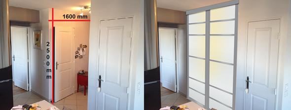 Portes Transparentes Coulissantes Moins Cher Avec Peinture Sur Bois - Porte placard coulissante avec ouverture de porte